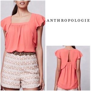 Anthropologie Meadow Rue Coral Flutter Blouse